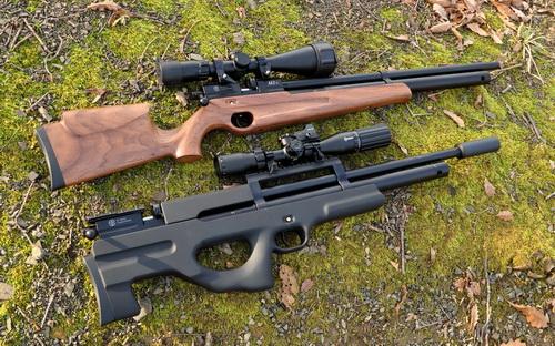 Наглядное сравнение габаритов пневматических винтовок двух базовых компоновок – классической и булл-пап